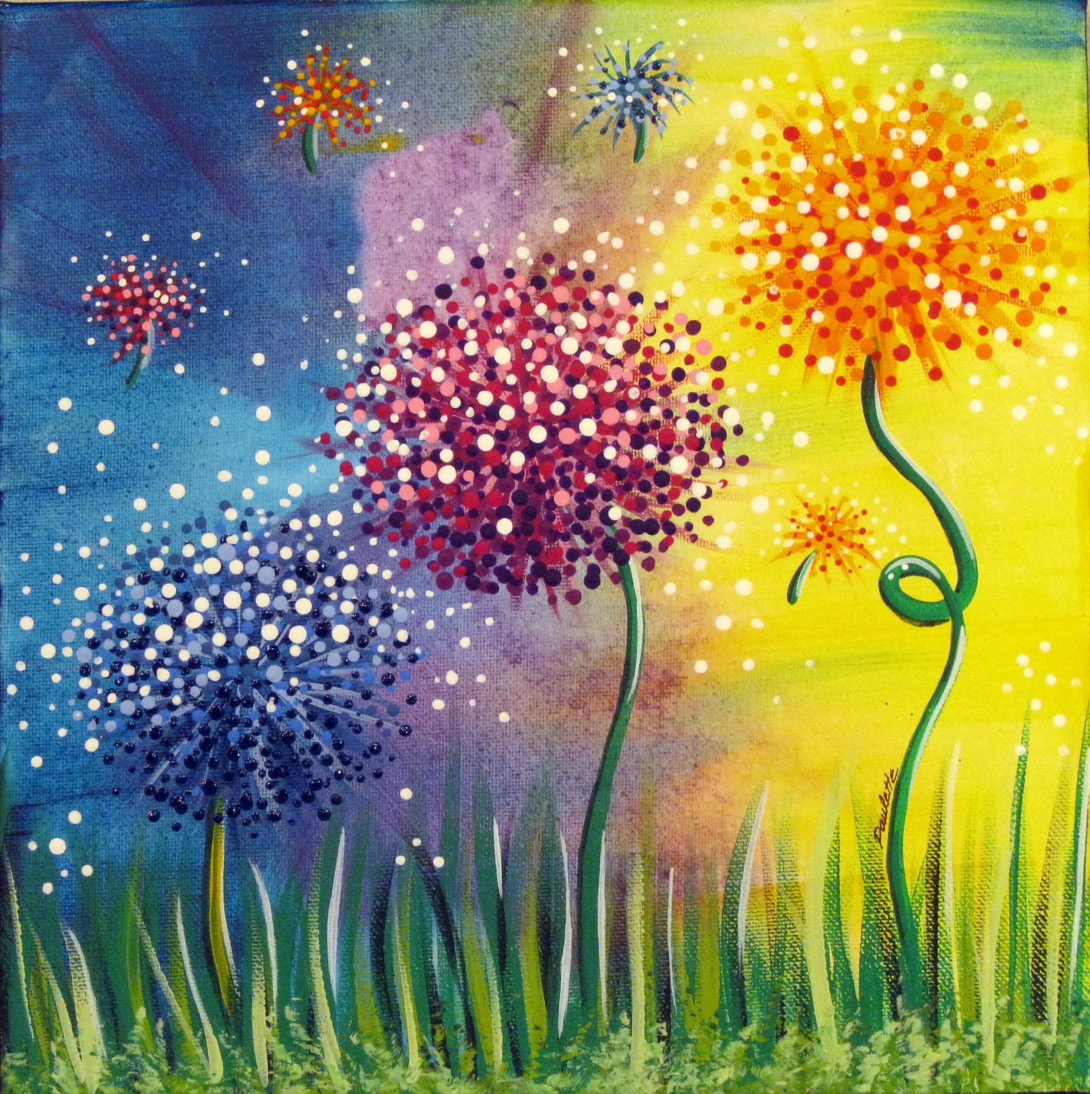 Рисунки цветы красками для детей